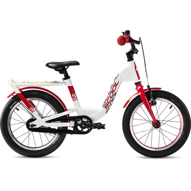 """Vélo Enfant S'COOL NIXE EVO Roue Libre 16"""" Blanc/Rouge 2020"""